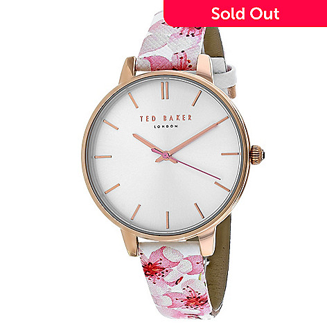 f7865e43e 664-051- Ted Baker Women s Classic Quartz White Floral Leather Strap Watch