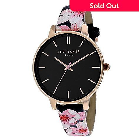 c865d550b 664-052- Ted Baker Women s Classic Quartz Black Floral Leather Strap Watch