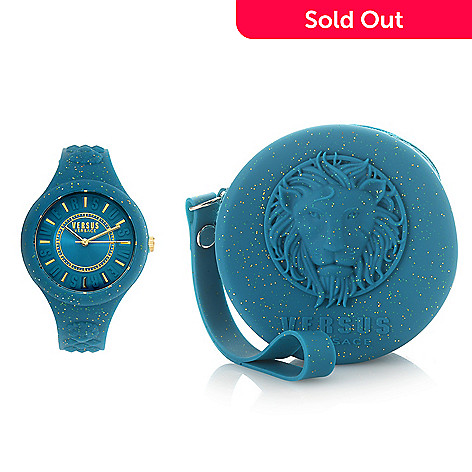 664-102- Versus Versace Women s Fire Island Quartz Glitter Silicone Strap  Watch c8a1ea2c68014