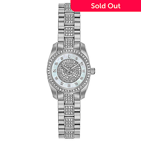 562909c034502 Bulova Women's Quartz Stainless Crystal Accent Mother-of-Pearl Dial  Bracelet Watch