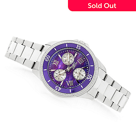 Invicta Women's Angel Quartz Purple Dial Silver-tone Stainless Steel  Bracelet Watch
