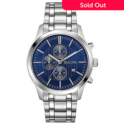 739723c60 664-604- Bulova Men's 43mm Chronograph Blue Dial Stainless Steel Bracelet  Watch