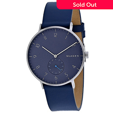 dee5a1b41 664-717- Skagen Men's 40mm Aaren Quartz Blue Leather Strap Watch