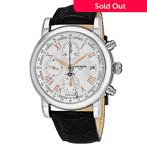 350fbb770b6 665-240- Mont Blanc Men's 43mm Star Swiss Made Automatic Chronograph Black Leather  Strap
