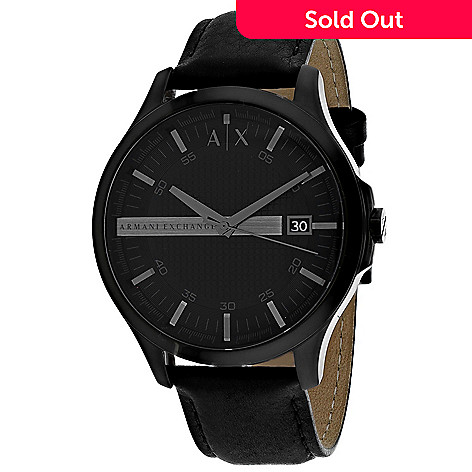 e3e47312 Armani Exchange Men's 46mm Classic Quartz Black Leather Strap Watch