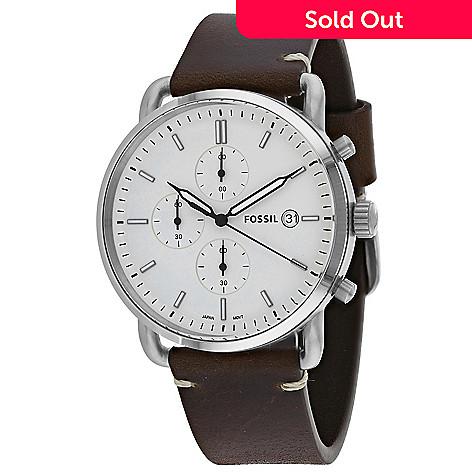 3a4b0132928b 666-205- Fossil Men s 42mm Commuter Quartz Brown Leather Strap Watch