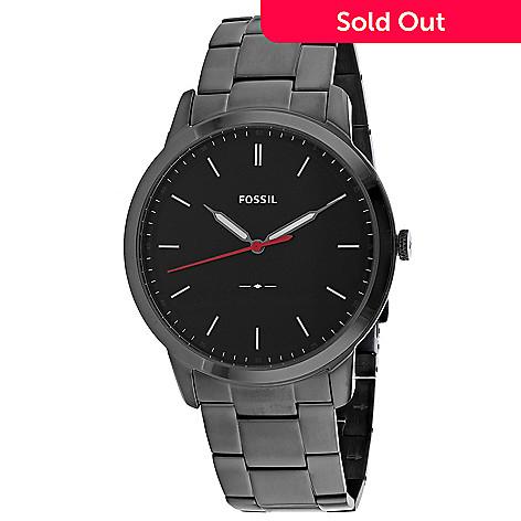 821a66ff5 666-218- Fossil Men's 44mm Minimalist Quartz Black Dial Stainless Steel  Bracelet Watch