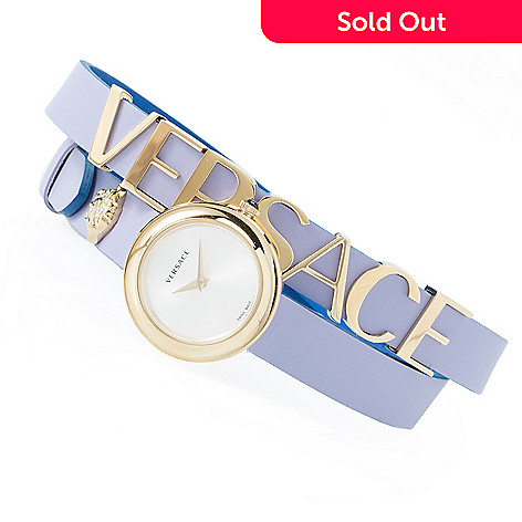 6a3a95b0 Versace Women's V-Flare Swiss Made Quartz Triple Wrap Leather Strap ...
