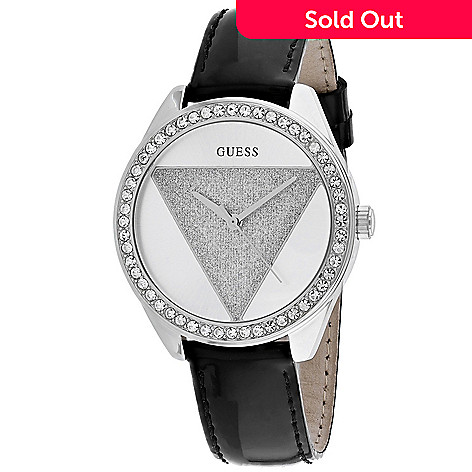7a9814d56 668-883- Guess Women's Tri Glitz Quartz Crystal Accented Leather Strap Watch