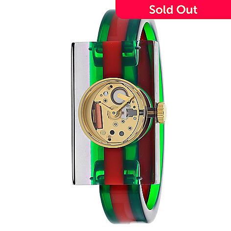 7b58eedf3e2 669-005- Gucci Women s Rectangular Swiss Made Quartz Plexiglas Green   Red  Strap Watch
