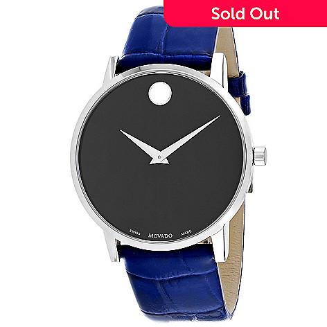 Movado Men S 40mm Museum Swiss Made Quartz Blue Leather Strap Watch