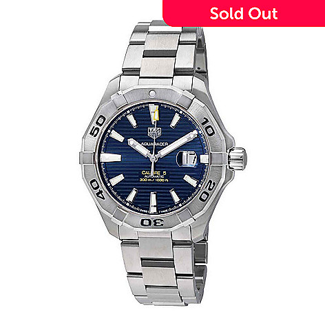 64ede8f8ad8 669-648- Tag Heuer Men's 43mm Aquaracer Swiss Made Automatic Date Blue Dial  Stainless