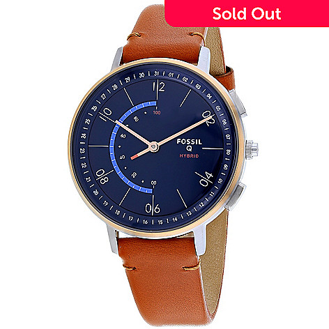 6864aec81 669-765- Fossil Women's Q Harper Quartz Bluetooth Enabled Blue Dial Leather  Strap Watch