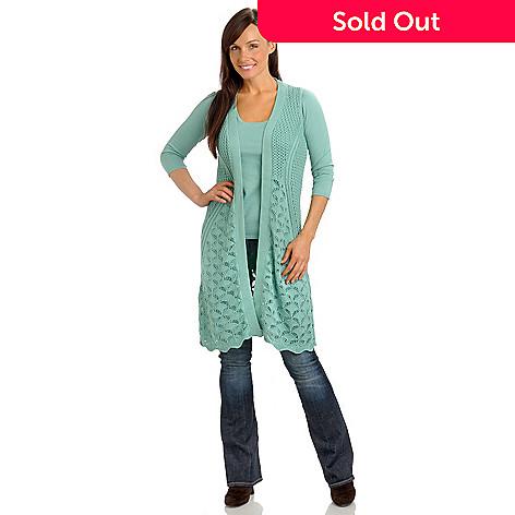 Geneology Crochet Knit Sleeveless Duster Length Cardigan Sweater Evine
