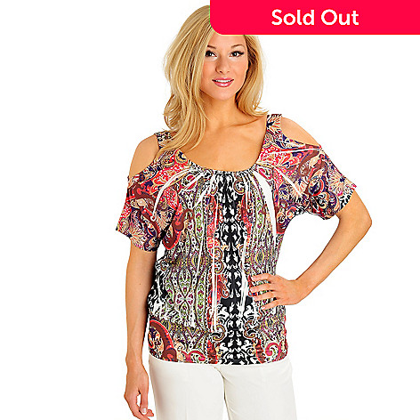 9d37d9e10cce42 702-954- One World Micro Jersey Cold Shoulder Banded Bottom Printed Top