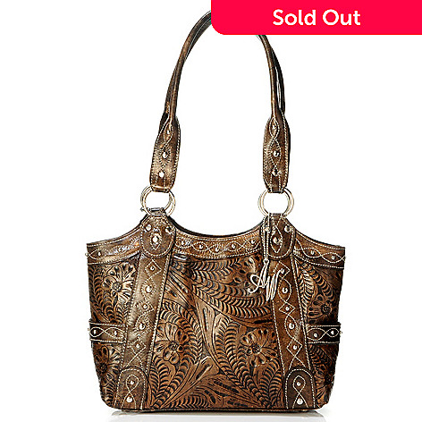 704 182 American West Over The Rainbow Hand Tooled Leather Tote