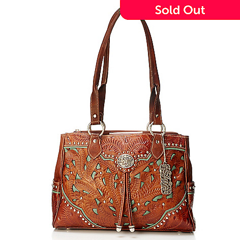 704 187 American West Hand Tooled Leather Tote Bag