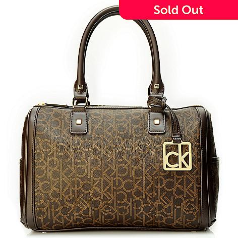 704 658 Calvin Klein Handbags Logo Coated Canvas Duffle