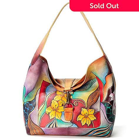 705 224 Chka Hand Painted Leather Fold Over Hobo Handbag