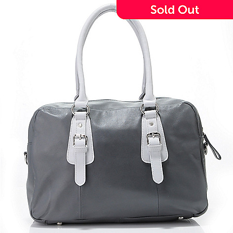 705 604 Simply Nina By Raye Two Tone Lamb Leather Handbag
