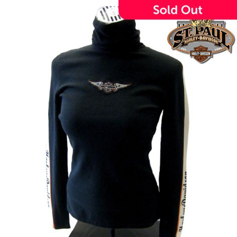 Harley Davidson Womens S Xl Black Stripe Sleeve Turtleneck Sweater
