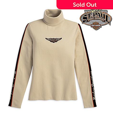 f298284faa9a Harley-Davidson® Women s S-XL Off White Stripe Sleeve Turtleneck ...