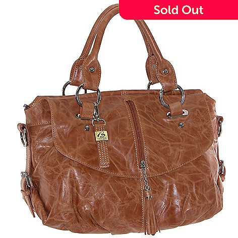 708 422 B Collective By Buxton Crinkle Leather Vertical Tassel Zip Flap Detail