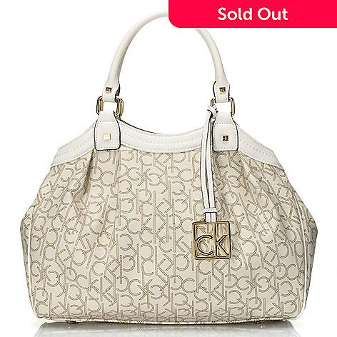 709 372 Calvin Klein Handbags Logo Coated Canvas Convertible Satchel