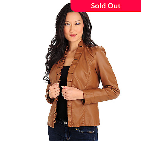 d399c0d96 Kate & Mallory® Faux Leather Ruffle Trimmed Open Front Jacket