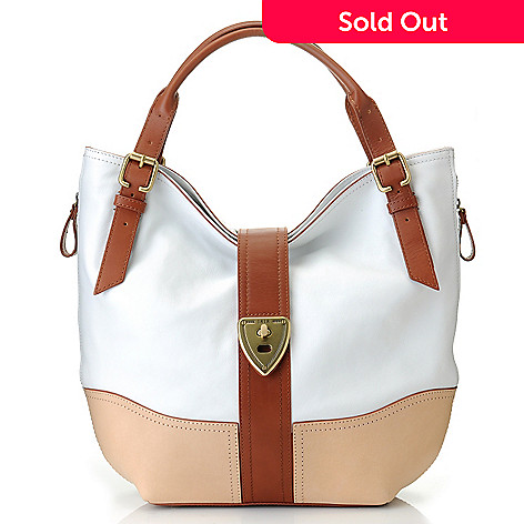 22eaddd485c9 710-106- Brooks Brothers Calfskin Leather Double Handle Large Hobo Handbag