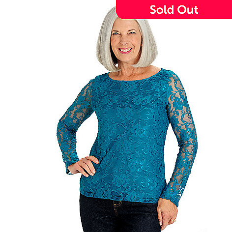 710-147- Kate   Mallory® Stretch Lace Long Sleeved Scoop Neck Lined Top cb9d9c033394