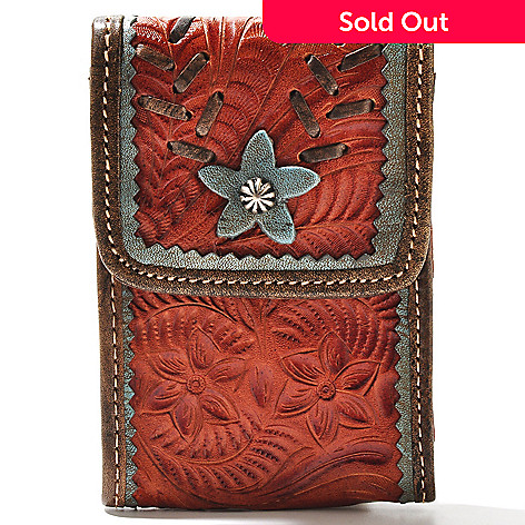 super popular d28e8 72781 American West Hand-Tooled Leather Smart Phone Case w/ Clip