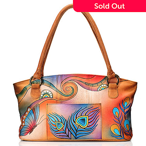 Anuschka Hand-Painted Leather Zip Top Front Pocket East-West Tote ... 098590180745d