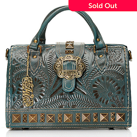 711 258 American West Hand Tooled Leather Stud Detailed Large Doctor Satchel