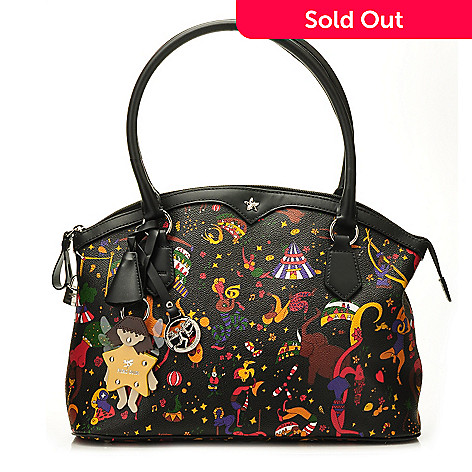 f186f4c483bd 711-401- Piero Guidi Coated Cancas Magic Circus Collection Zip Top Tote Bag