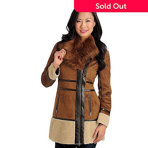 357b7a76f140 711-473- Members Only Faux Shearling Faux Fur Collar Asymmetrical Zip Jacket