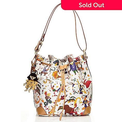 b97d0c2f02 712-077- Piero Guidi Coated Canvas Magic Circus Collection Bucket Bag