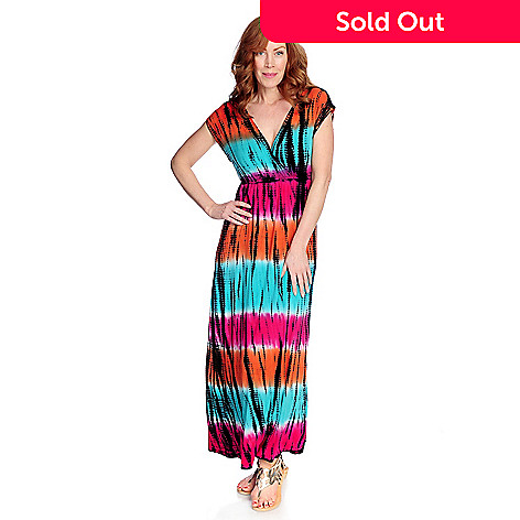 f64873c60a4 WD.NY Knit Tie-Dye Cap Sleeve V-Neck Maxi Dress - EVINE