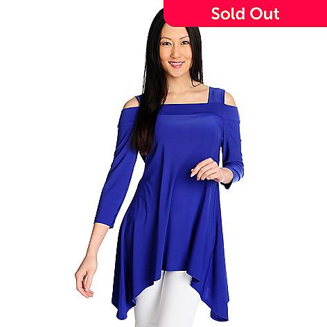 d557f472ae1 712-941- Kate & Mallory® Stretch Knit Cold Shoulder Sharkbite Hem Tunic