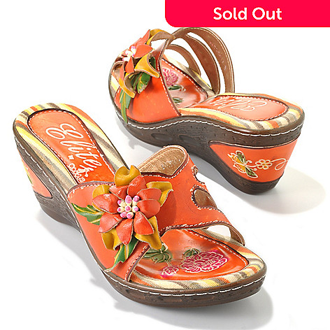 32cd01e42acc 713-129- Corkys Elite Hand-Painted Leather Slip-on Flower Design Wedge