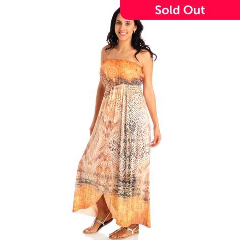 One World Chiffon Knit Combo Strapless Empire Waist Maxi Dress Evine
