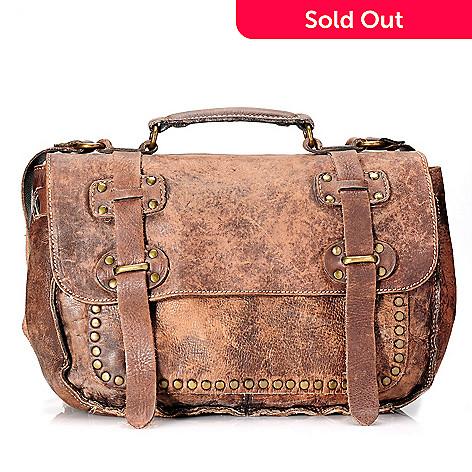 713 433 Patricia Nash Leather Studded Flap Over Messenger Bag