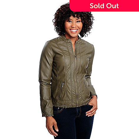 bdd79c53f OSO Casuals® Faux Leather Long Sleeved Ruffle Trimmed Zip Front Jacket