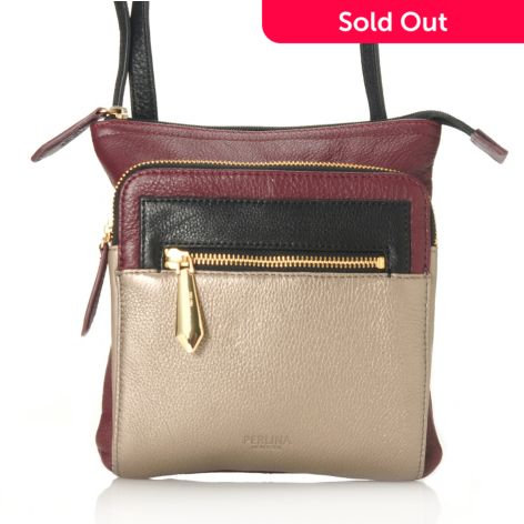 Perlina New York Pebbled Leather Color Block Cross Body Bag