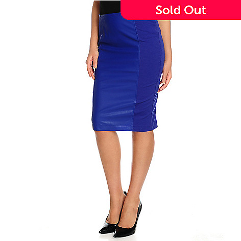 69a114ec2bd WD.NY Ponte Knit Faux Leather Panel Knee-Length Pencil Skirt - EVINE