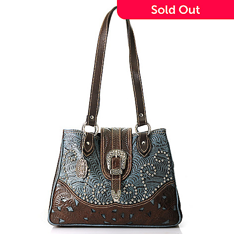 American West Hand Tooled Leather Studded Secret Compartment Tote Bag