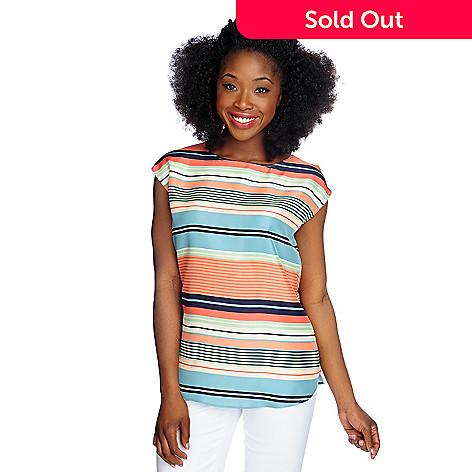96dbc60187f 714-643- Brooks Brothers 100% Silk Sleeveless Variegated Stripe Crew Neck  Blouse