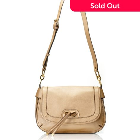 Perlina New York Pebbled Leather Flap Over Cross Body Bag