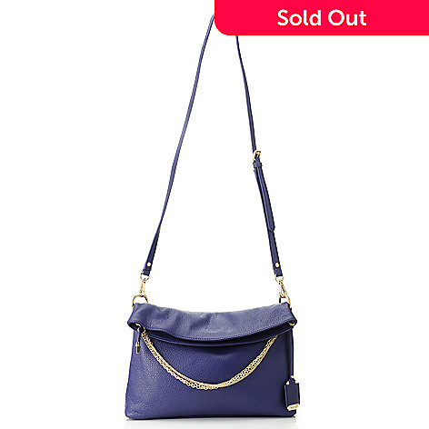 Perlina New York Pebbled Leather Chain Detailed Fold Over Zip Top Cross Body Bag