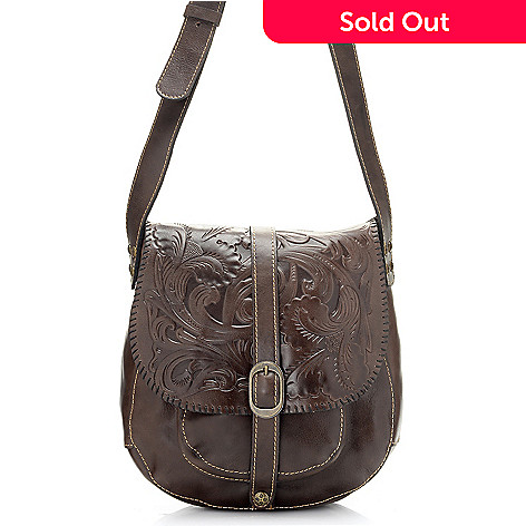 714 873 Patricia Nash Barcelona Tool Embossed Leather Crossbody Saddle Bag